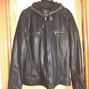 Rock & Republic Men's Hooded Faux Leather Jacket